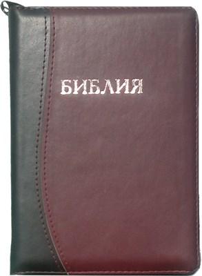 Библия на замке с индексами, термовинил чёрно-бордовый 047 DT ZTI