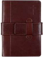 Библия с индексами, улучшенная кожа с ремнем-застежкой, коричневая 078 TI